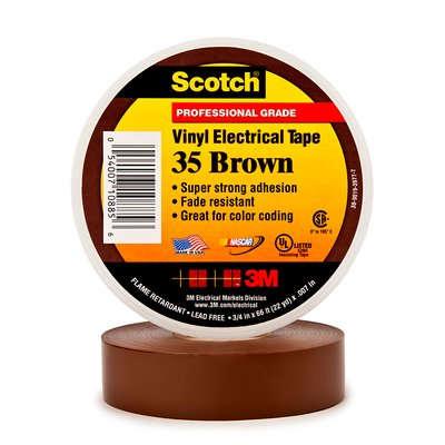 3m scotch 35 pvc tape 19mm x 20m bruin